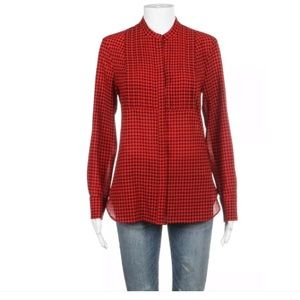 J.crew red black checked gingham blouse XS pleated